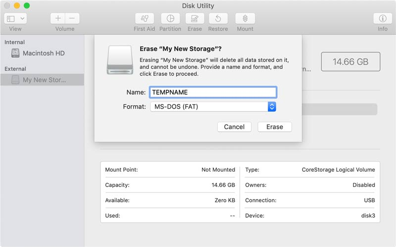 Erase Your USB with Disk Utility