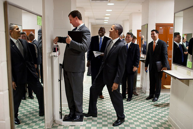 Why I Like Obama - Foot on Scale