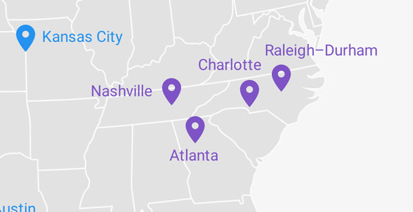 Google Fiber Map - SE United States